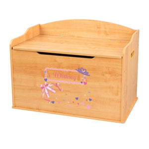Personalized Natural Wooden Toy Box with Ballet Princess design