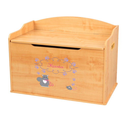Personalized Natural Wooden Toy Box with Kitty Cat design