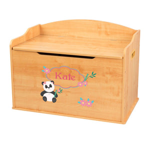 Personalized Natural Wooden Toy Box with Panda Bear design