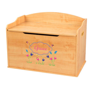 Personalized Natural Wooden Toy Box with English Garden design
