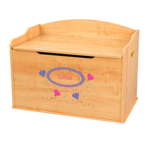 Personalized Natural Wooden Toy Box with Heart Balloons design