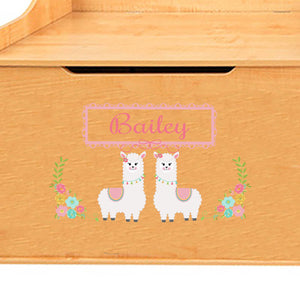 Personalized Natural Wooden Toy with 329 Alpaca llama design
