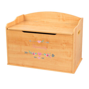 Personalized Natural Wooden Toy Box with Girl Tribal Arrows design