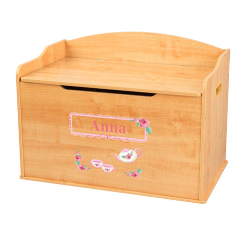 Personalized Natural Wooden Toy Box with Tea Party design