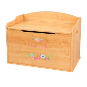 Personalized Natural Wooden Toy Box with Spring Floral design