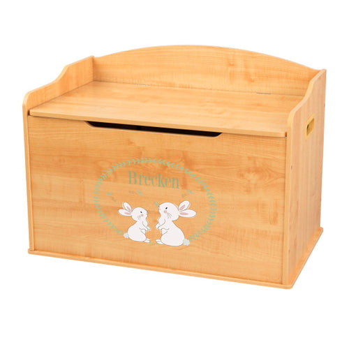 Personalized Natural Wooden Toy Box with Classic Bunny design