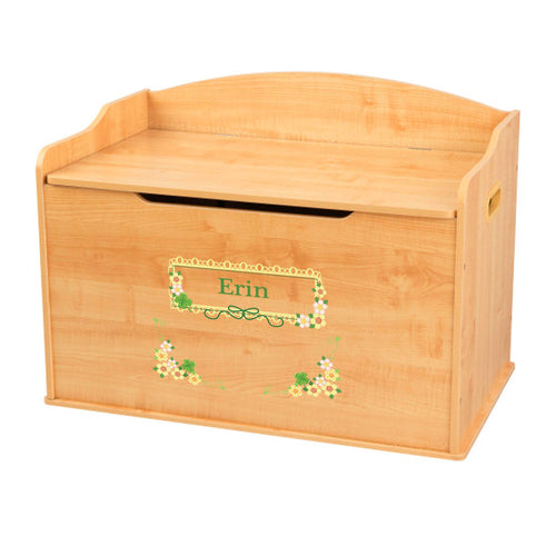 Personalized Natural Wooden Toy Box with Shamrock design