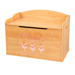 Personalized Natural Wooden Toy Box with Ballerina Red Hair design
