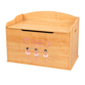 Personalized Natural Wooden Toy Box with Ballerina Black Hair design