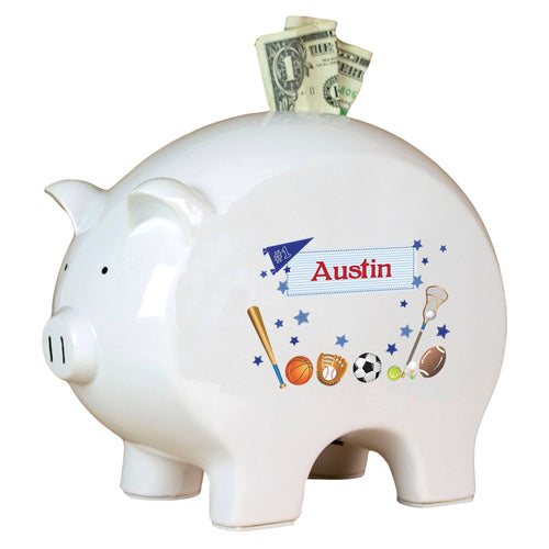 Personalized Piggy Bank with Sports design