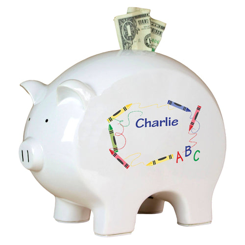Personalized Piggy Bank with Crayon design