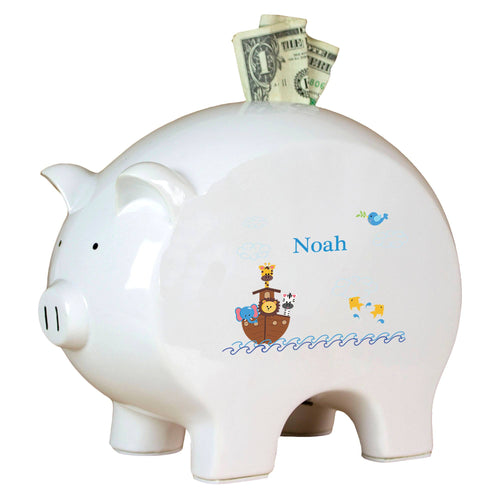 Personalized Piggy Bank with Noahs Ark design