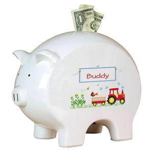 Personalized Piggy Bank with Red Tractor design
