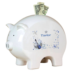 Personalized Piggy Bank with Blue Rock Star design