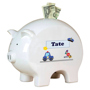 Personalized Piggy Bank with Police design