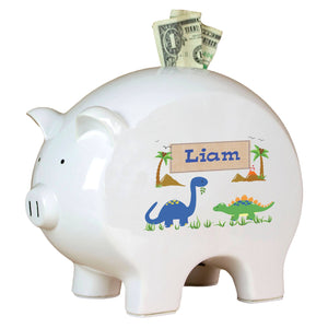 Personalized Piggy Bank with Dinosaurs design