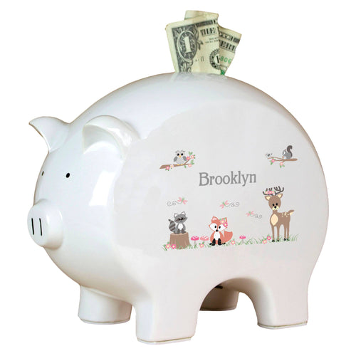 Personalized Piggy Bank with Gray Woodland Critters design