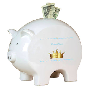 Personalized Piggy Bank with Prince Crown Blue design