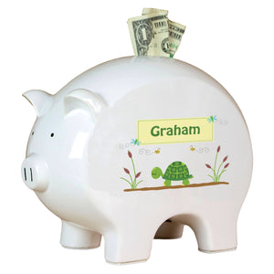 Personalized Piggy Bank with Turtle design