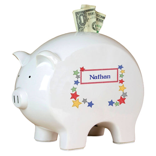 Personalized Piggy Bank with Stitched Stars design