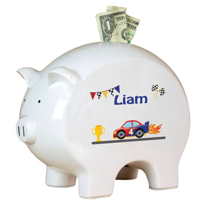 Personalized Piggy Bank with Race Cars design