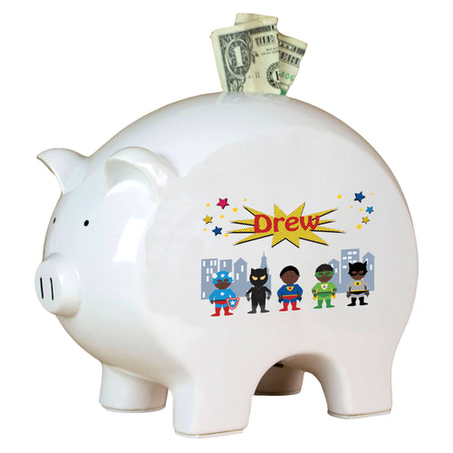 Personalized Piggy Bank African American Superhero boy