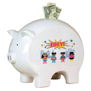 Personalized African American Superhero Girl Piggy Bank