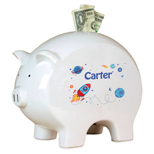 Personalized Piggy Bank with Rocket design