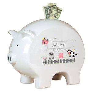 Personalized Piggy Bank with Barnyard Friends Pastel design