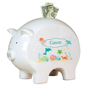Personalized Piggy Bank with Sea and Marine design