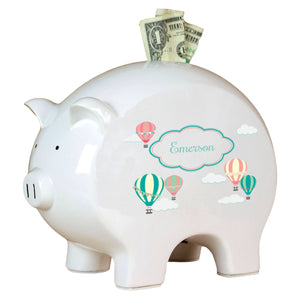Personalized Piggy Bank with Hot Air Balloon design
