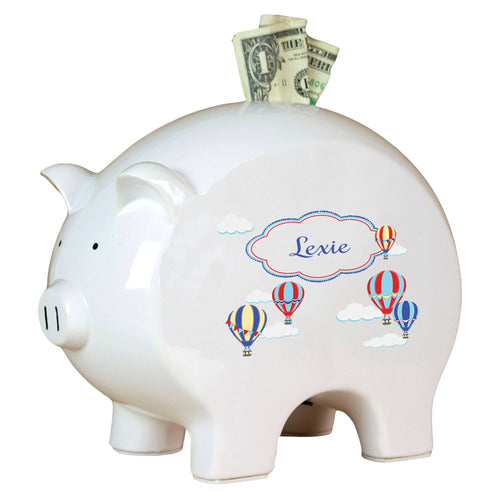 Personalized Piggy Bank with Hot Air Balloon Primary design