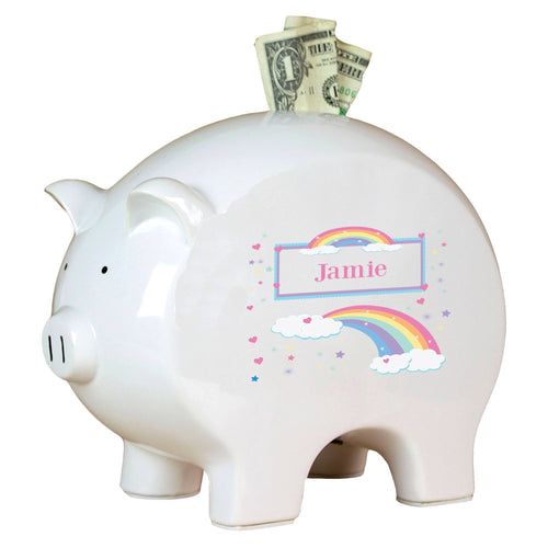 Personalized Piggy Bank with Rainbow Pastel design