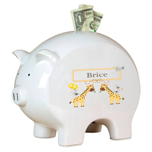 Personalized Piggy Bank with Giraffe design