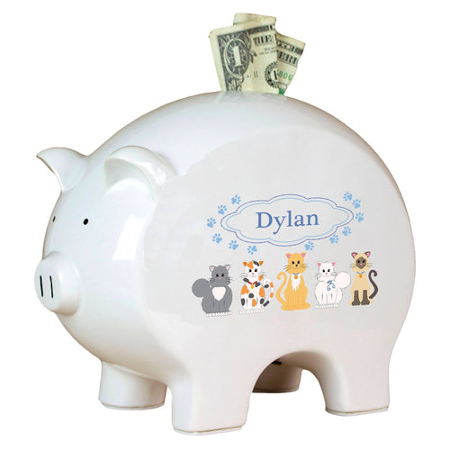 Personalized Piggy Bank with Blue Cats design