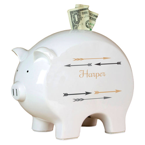 Personalized Piggy Bank with Arrows Gold and Grey design