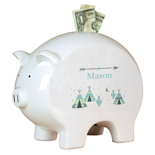 Personalized Piggy Bank with Teepee Aqua Mint design