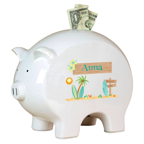 Personalized Piggy Bank with Surf'S Up design