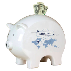 Personalized Piggy Bank with World Map Blue design