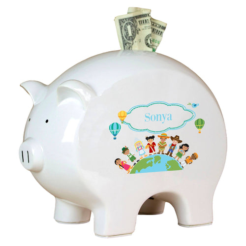 Personalized Piggy Bank with Small World design