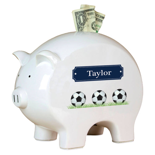 Personalized Piggy Bank with Soccer Balls design
