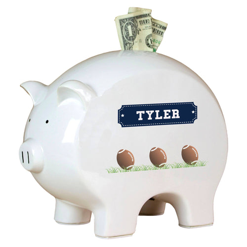 Personalized Piggy Bank with Footballs design