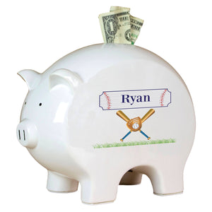 Personalized Piggy Bank with Baseball design
