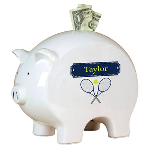 Personalized Piggy Bank with Tennis design