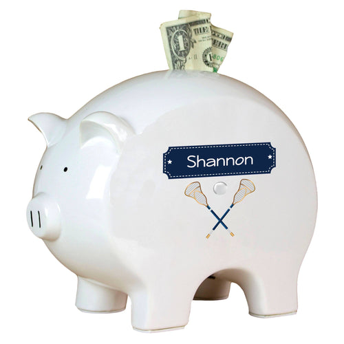 Personalized Piggy Bank with Lacrosse Sticks design