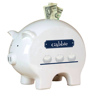 Personalized Piggy Bank with Volley Balls design