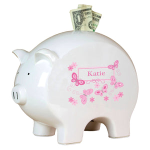 Personalized Piggy Bank with Butterflies Pink design