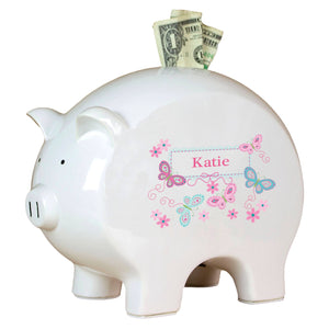 Personalized Piggy Bank with Butterflies Aqua Pink design