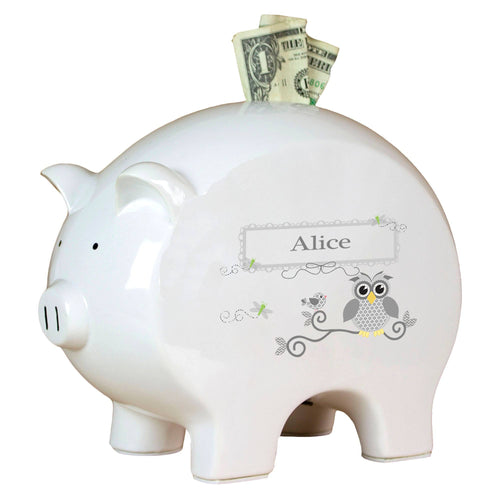 Personalized Piggy Bank with Gray Owl design