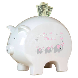 Personalized Piggy Bank with Pink Elephant design
